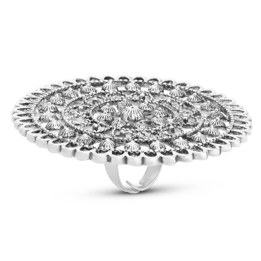Sukkhi Fashionable Rhodium Plated Floral Cocktail Ring For Women