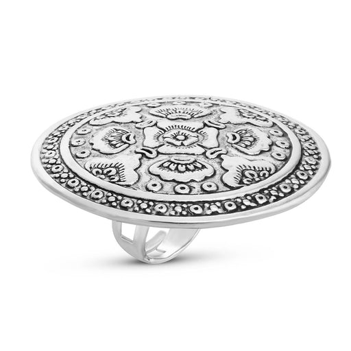 Sukkhi Classic Rhodium Plated Floral Cocktail Ring For Women
