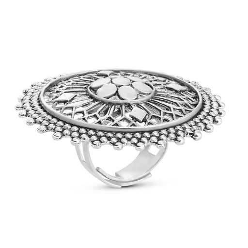 Sukkhi Charming Rhodium Plated Cocktail Ring For Women