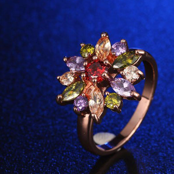 Sukkhi Marvellous Floral Crystal Stone Gold Plated Ring for Women - 8