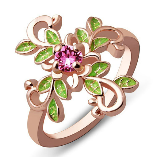 Sukkhi Glimmery Floral Crystal Stone Gold Plated Ring for Women - 8