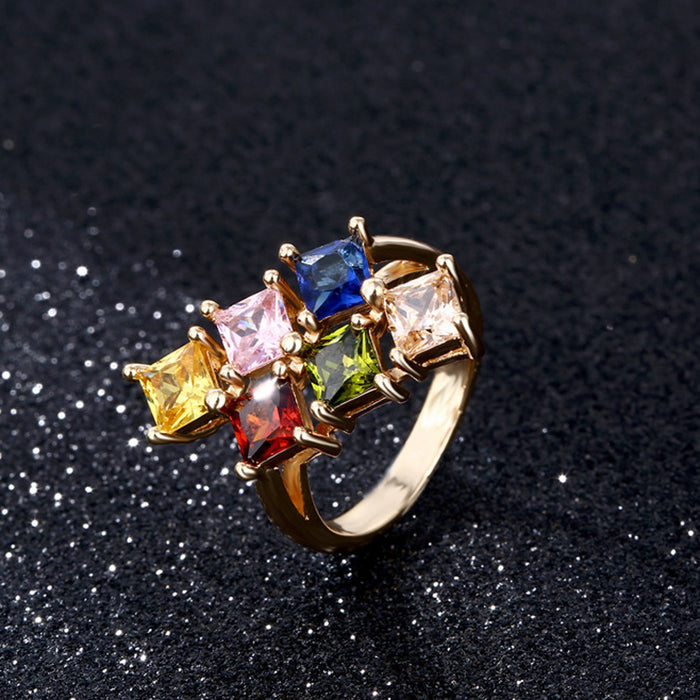 Sukkhi Shimmering Crystal Stone Gold Plated Multi Colour Ring for Women - 8