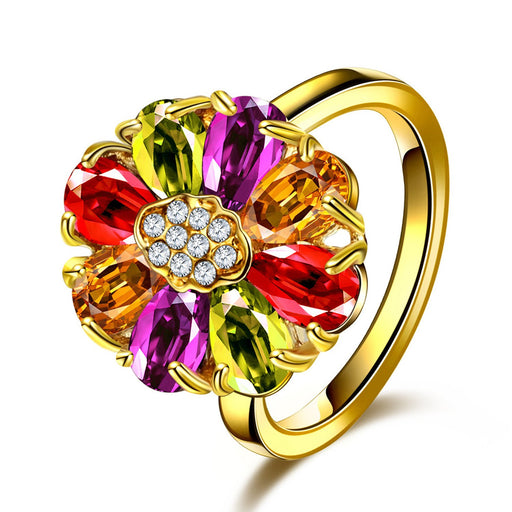 Sukkhi Lavish Floral Crystal Stone Gold Plated Multi Colour Ring for Women - 8