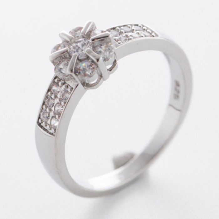 Sukkhi Fashion Floral Crystal Stone Rhodium Plated Ring for Women - 8