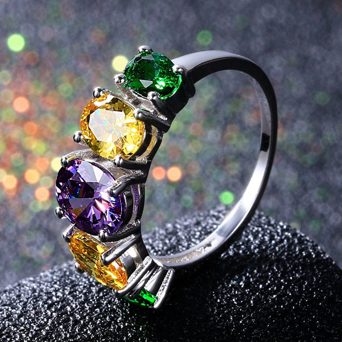 Sukkhi Astonish Crystal Stone Rhodium Plated Multi Colour Ring for Women - 8