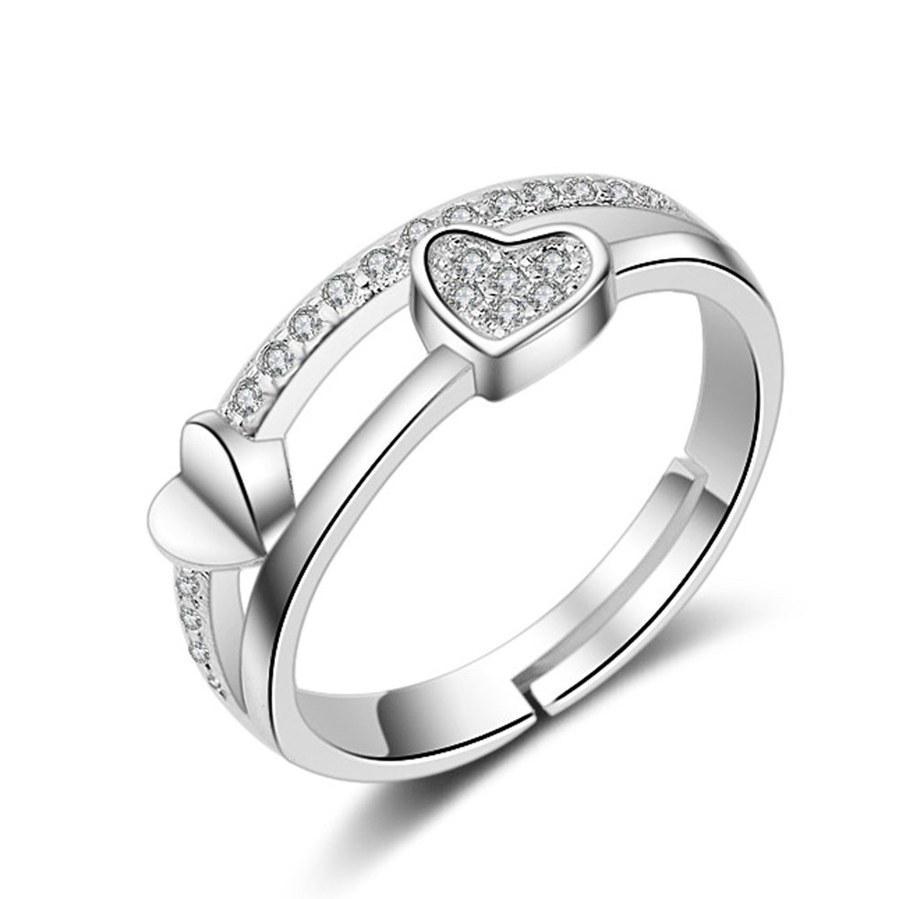 Sukkhi Graceful Valentine Heart Australian Diamond Rhodium Plated Ring for Women - 8