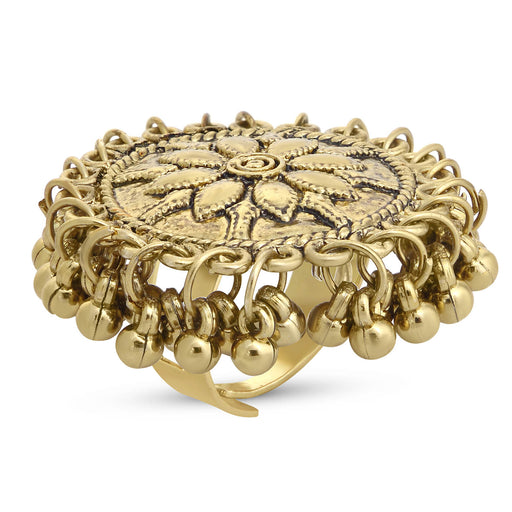 Sukkhi Fascinating Gold Plated Floral Cocktail Ring For Women