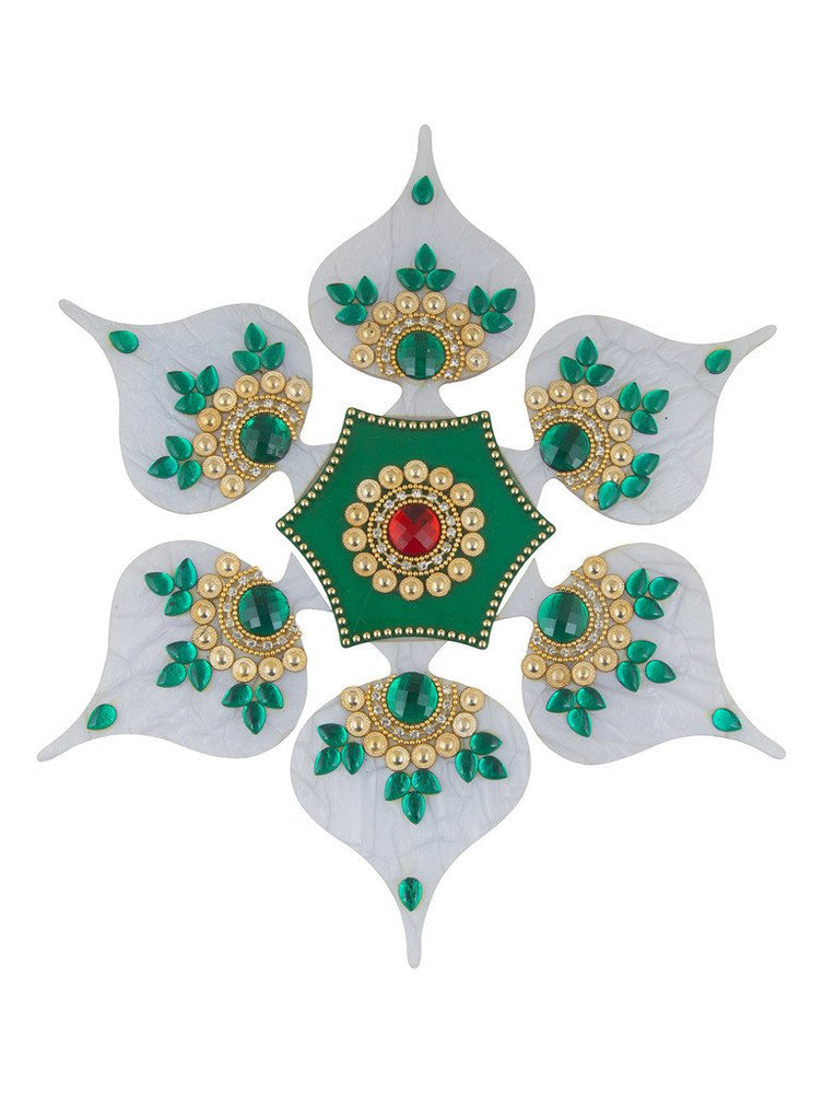 Sukkhi White and Green Easy to Assemble 7 piece Rangoli Set