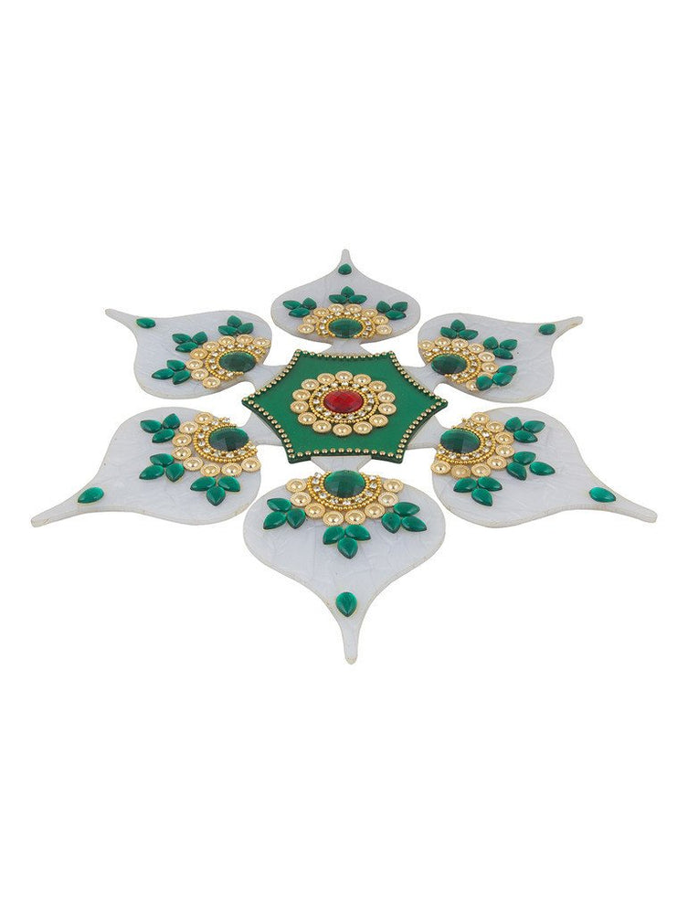 Sukkhi White and Green Easy to Assemble 7 piece Rangoli Set-1