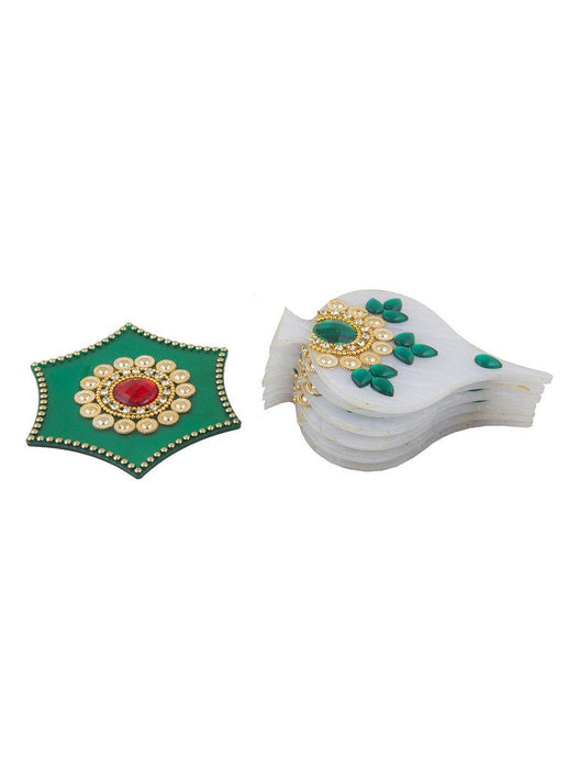 Sukkhi White and Green Easy to Assemble 7 piece Rangoli Set-2