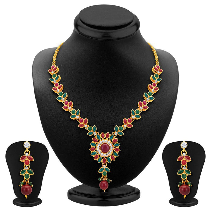ShoStopper Shimmering Gold Plated Austrian Diamond Necklace Set