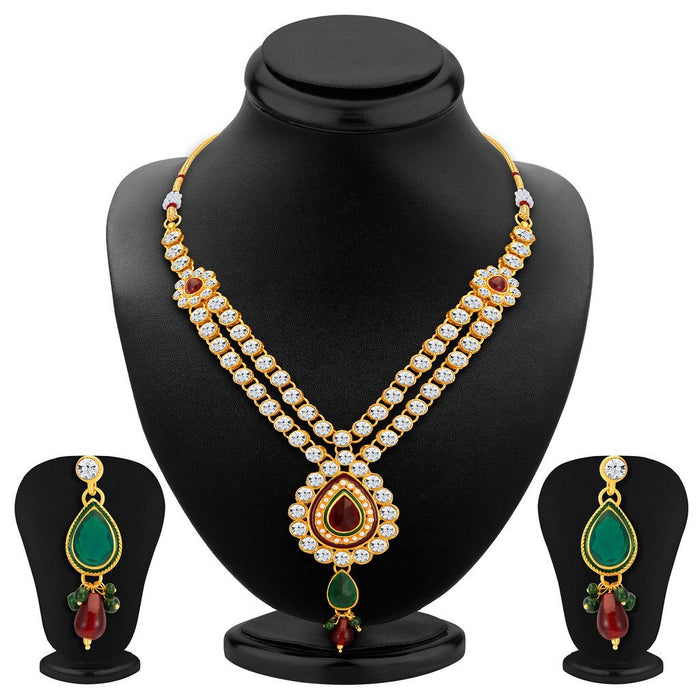 ShoStopper Gleaming Gold Plated Austrian Diamond Necklace Set