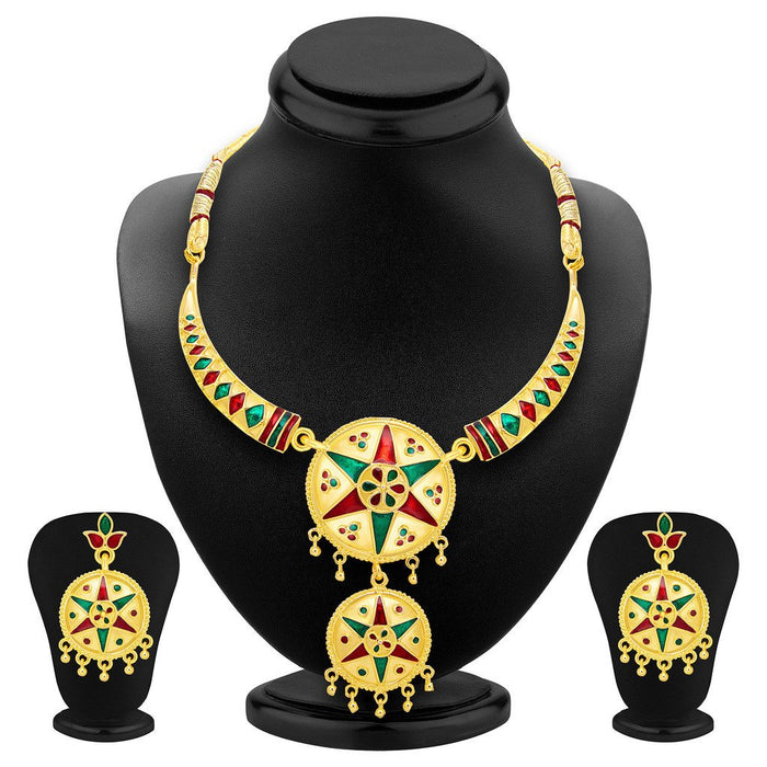 ShoStopper Exotic Gold Plated Meenakari Necklace Set
