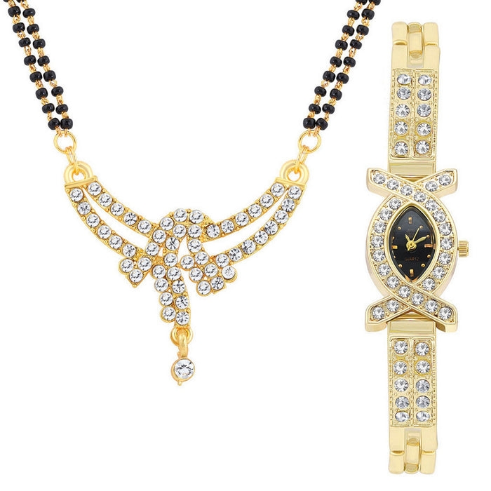 Shostopper Buy 1 Modern Gold Plated Mangalsutra Pendant & Get 1 Watch Free