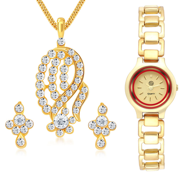 Shostopper Buy 1 Classy Gold Plated Australian Diamond Pendant Set & Get 1 Watch Free