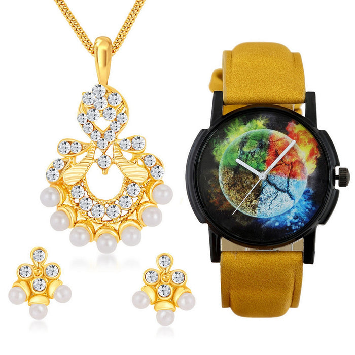 Shostopper Buy 1 Artistically Gold Plated Australian Diamond Pendant Set & Get 1 Watch Free
