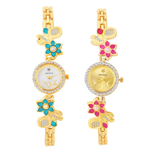 Shostopper Designer Combo Watches for Womens Pack of Two  SJ308WCB