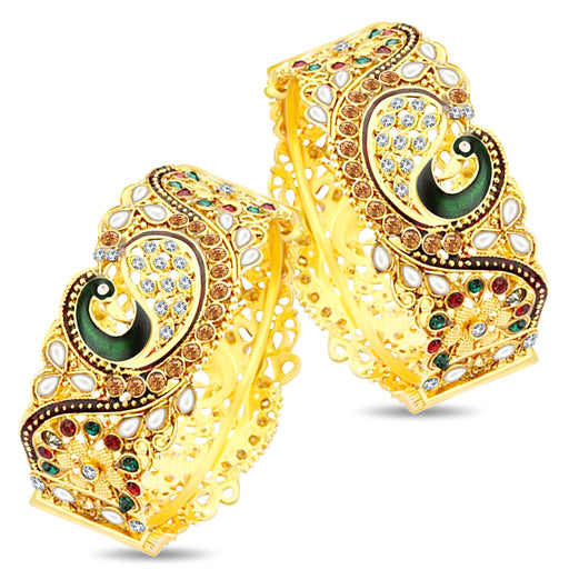 Shostopper Dancing Peacock Antique Gold Plated Bangle Set For Women