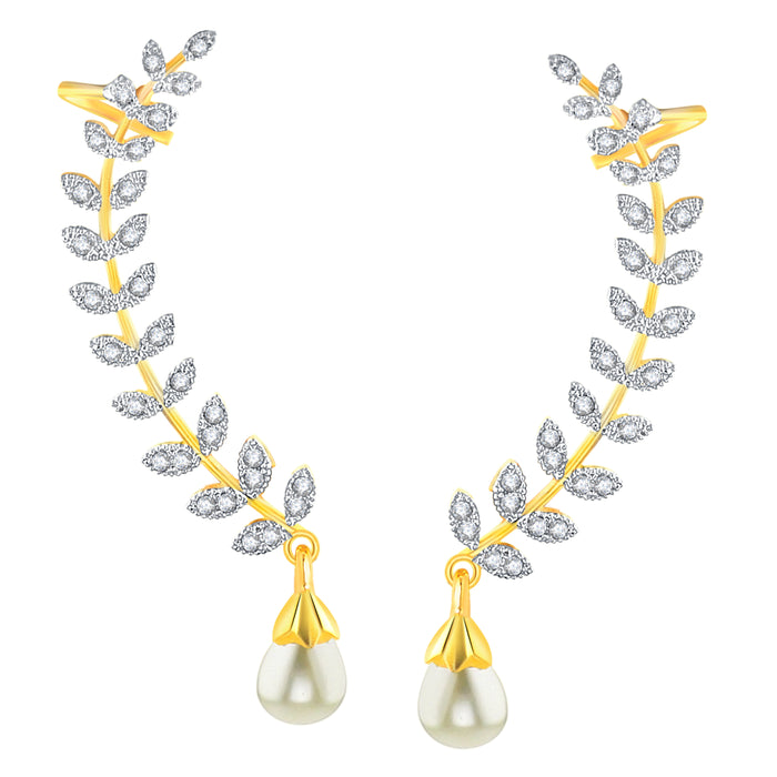 Sukkhi by Shostopper Gold Plated American Diamond Leaf Shape Ear Cuffs Earrings For Women & Girls