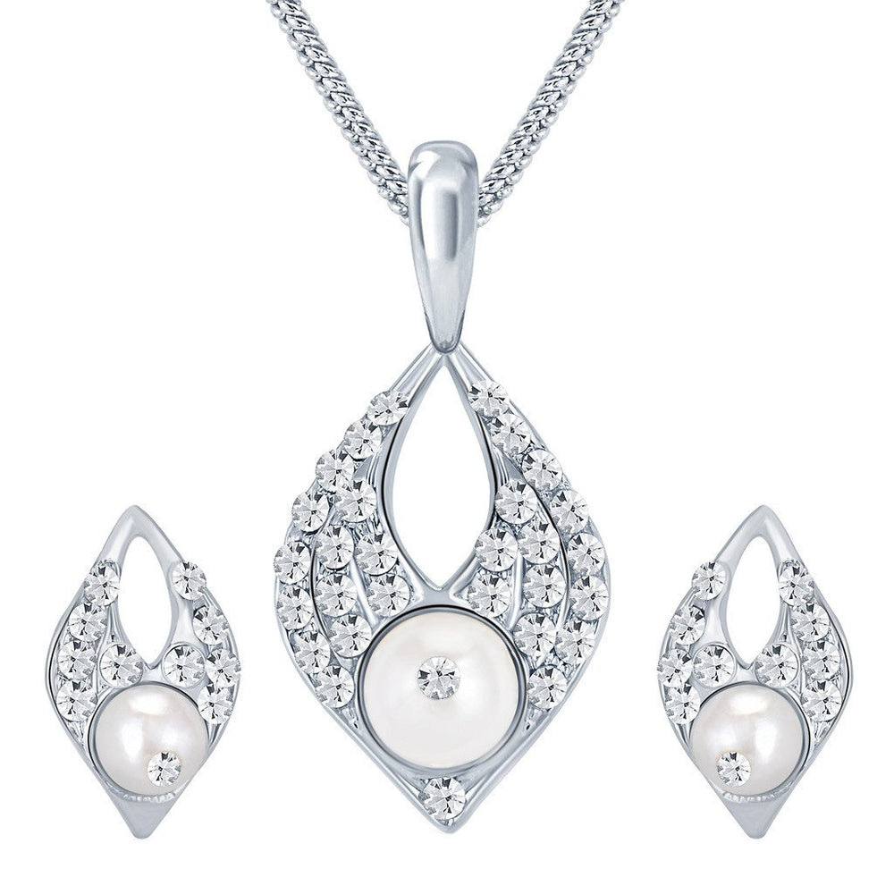 ShoStopper Pleasing Rhodium Plated Austrian Diamond Pendant Set