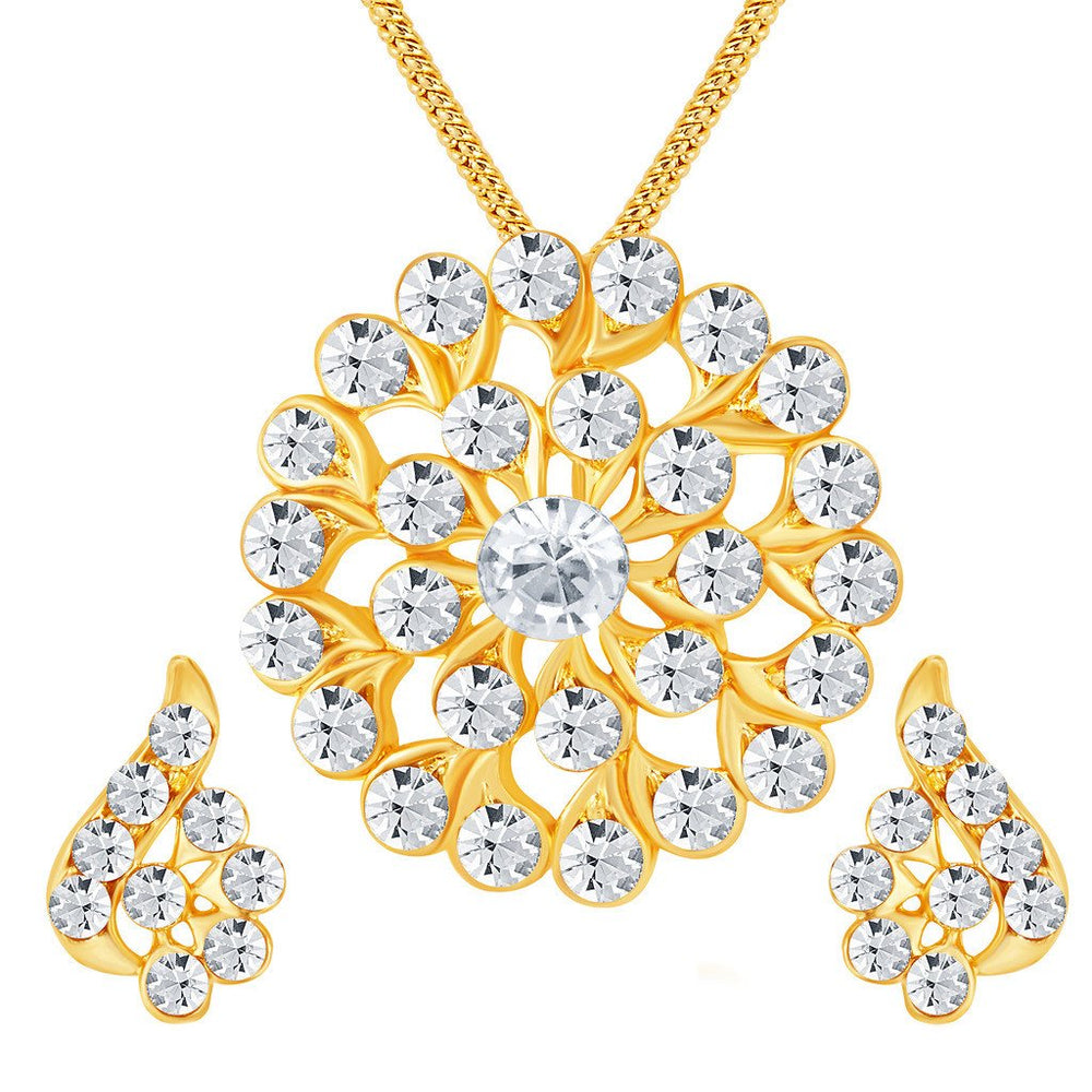 ShoStopper Sublime Gold Plated Austrian Diamond Pendant Set