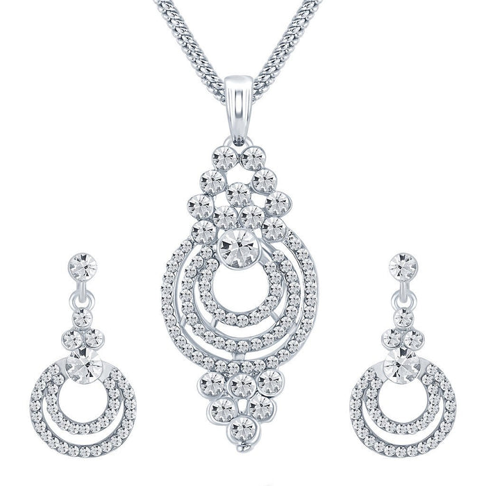 ShoStopper Amazing Rhodium Plated Austrian Diamond Pendant Set