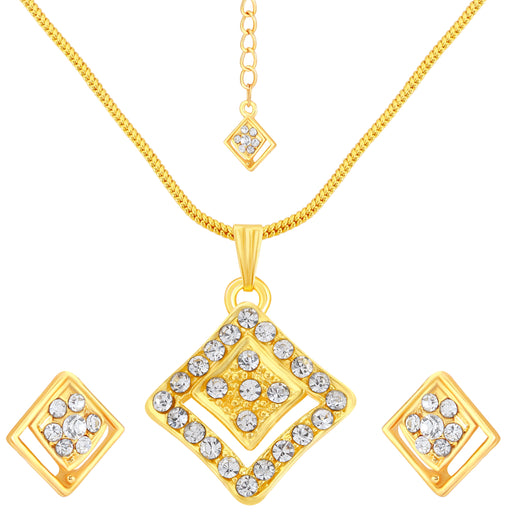 ShoStopper Geometrical Gold Plated Pendant Set With Maang Tika SJ4023PSN