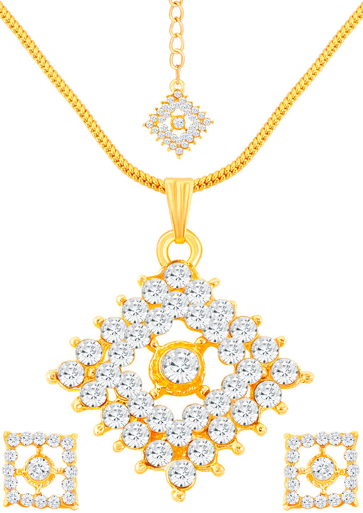 ShoStopper Square Gold Plated Pendant Set With Maang Tika SJ4026PSN