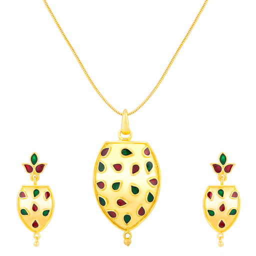 ShoStopper Creative Gold Plated Meenakari Pendant Set