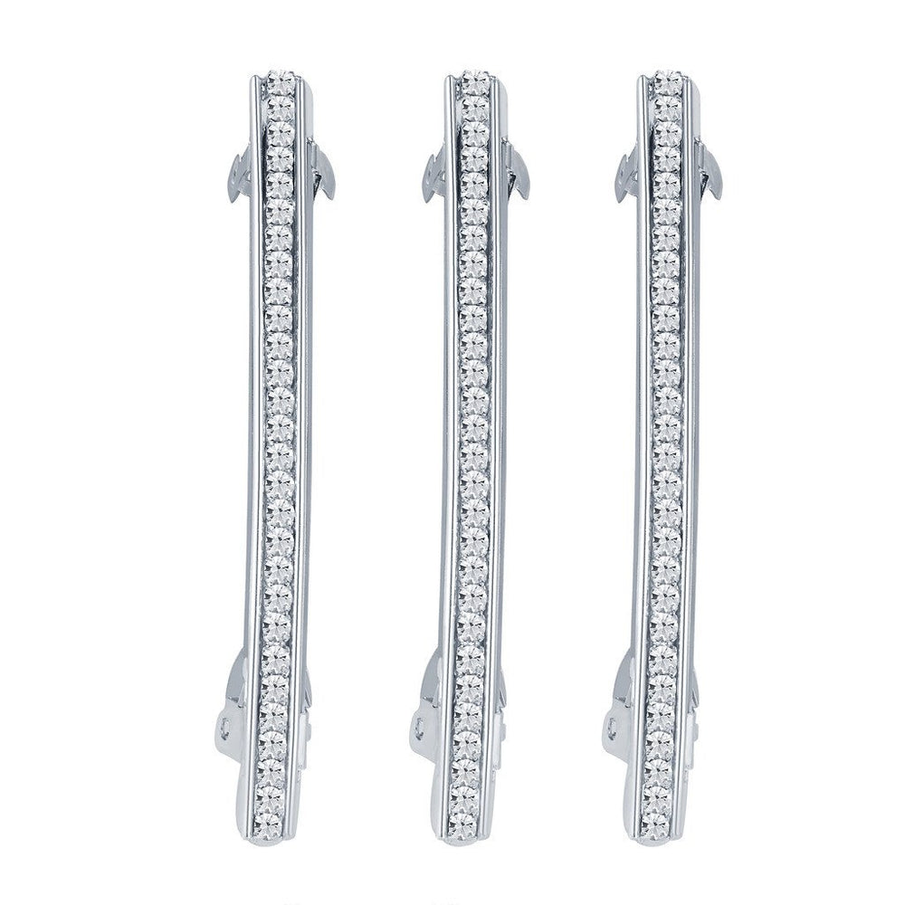 ShoStopper Wavy Rhodium Plated Austrian Diamond Set of 3 Hair Clip-1