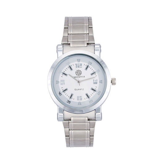 Shostopper Round Metallic White Dial Analogue Watch For Men - SJ60039WM