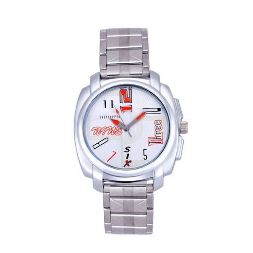 Shostopper Stylish Metallic White Dial Analogue Watch For Men - SJ60044WM