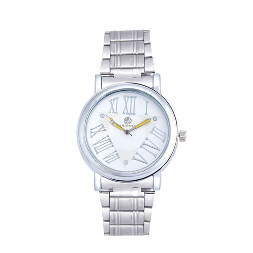 Shostopper Roman Metallic White Dial Analogue Watch For Men - SJ60045WM