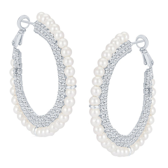 ShoStopper Luxurious Rhodium Plated Austrian Diamond Earring