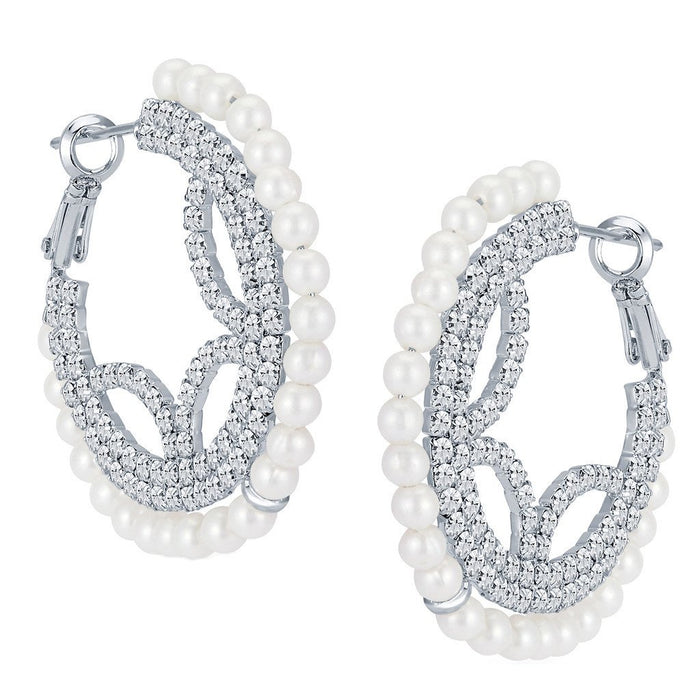 ShoStopper Traditionally Rhodium Plated Austrian Diamond Earring