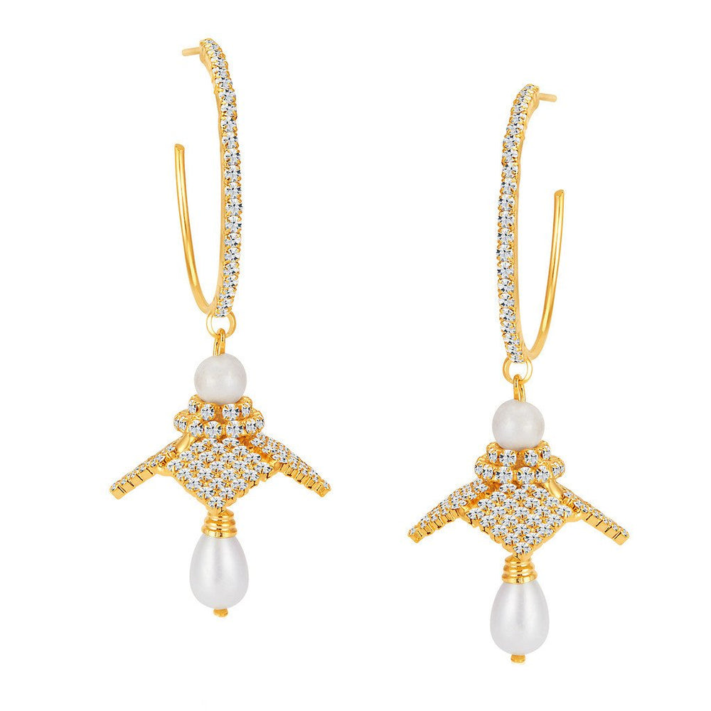 ShoStopper Trendy Gold Plated Austrian Diamond Earring