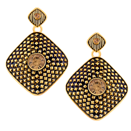 Sukkhi by Shostopper Black/Golden Alloy Danglers & Drop Earring for Women SJ6086EN