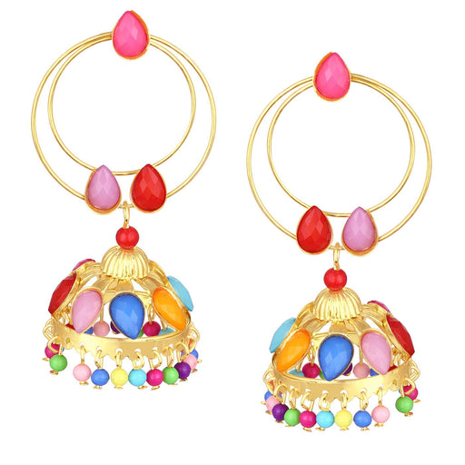 ShoStopper Multi-color Jhumki Gold Plated Earring SJ6113EN