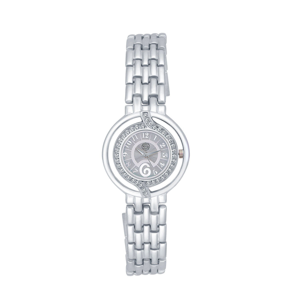 Shostopper Cluster Silver Dial Analogue Watch For Women - SJ62031WW
