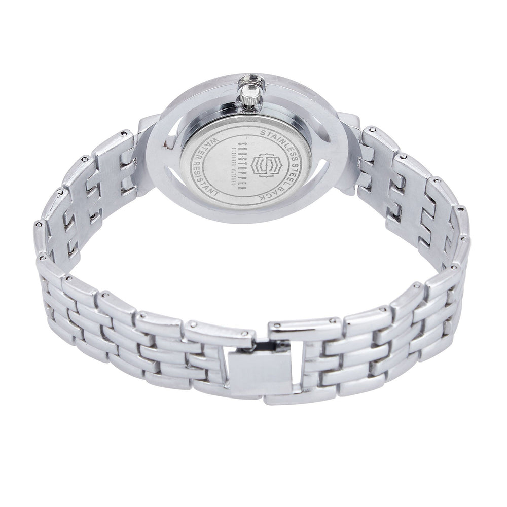 Shostopper Cluster Silver Dial Analogue Watch For Women - SJ62031WW-3
