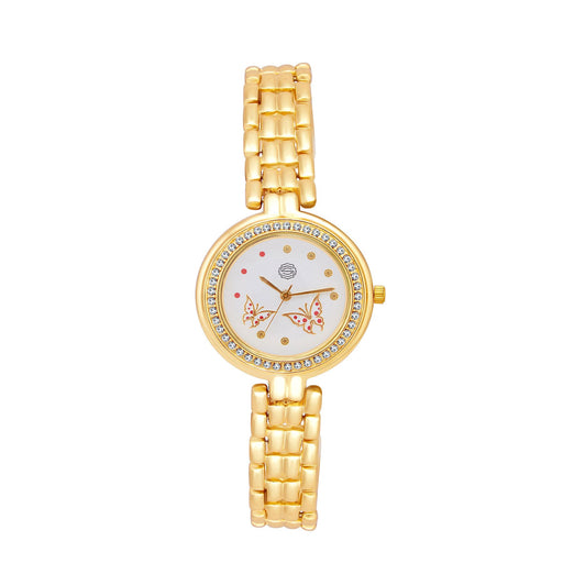 Shostopper Royal Gold White Dial Analogue Watch For Women - SJ62034WW