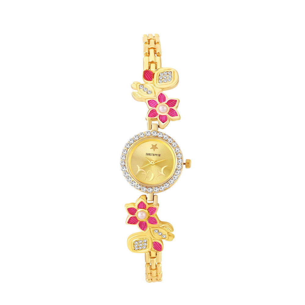 Shostopper Pink Golden Dial Analogue Watch For Women SJ62072WWV