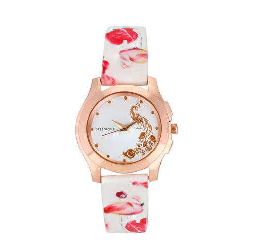 Shostopper White Dial Peacock Analogue Watch For Women SJ62078WWV