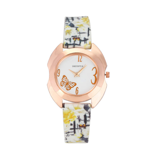 Shostopper White Dial Butterfly Analogue Watch For Women SJ62079WWV