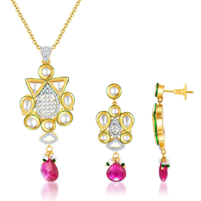 Pissara Kundan-CZ Gold and Rhodium plated Glittery Pendant Set