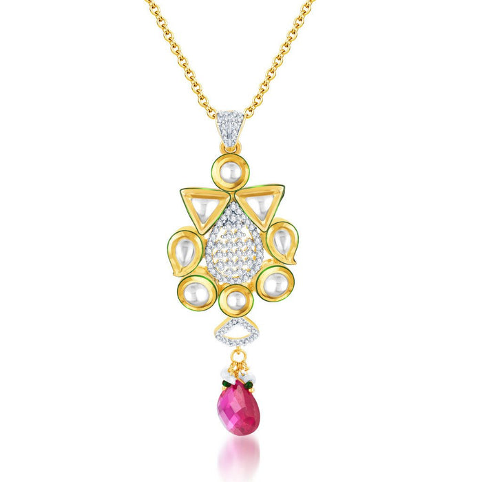 Pissara Kundan-CZ Gold and Rhodium plated Glittery Pendant Set-1