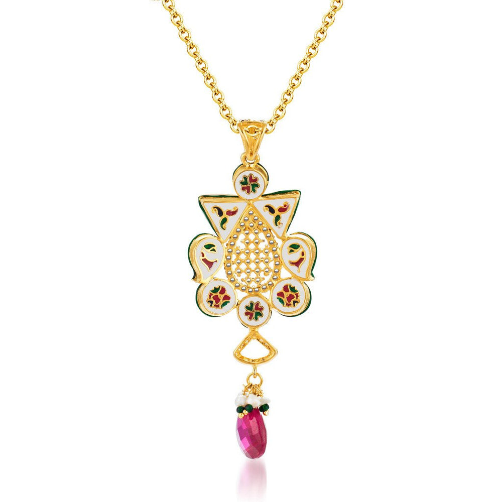 Pissara Kundan-CZ Gold and Rhodium plated Glittery Pendant Set-3