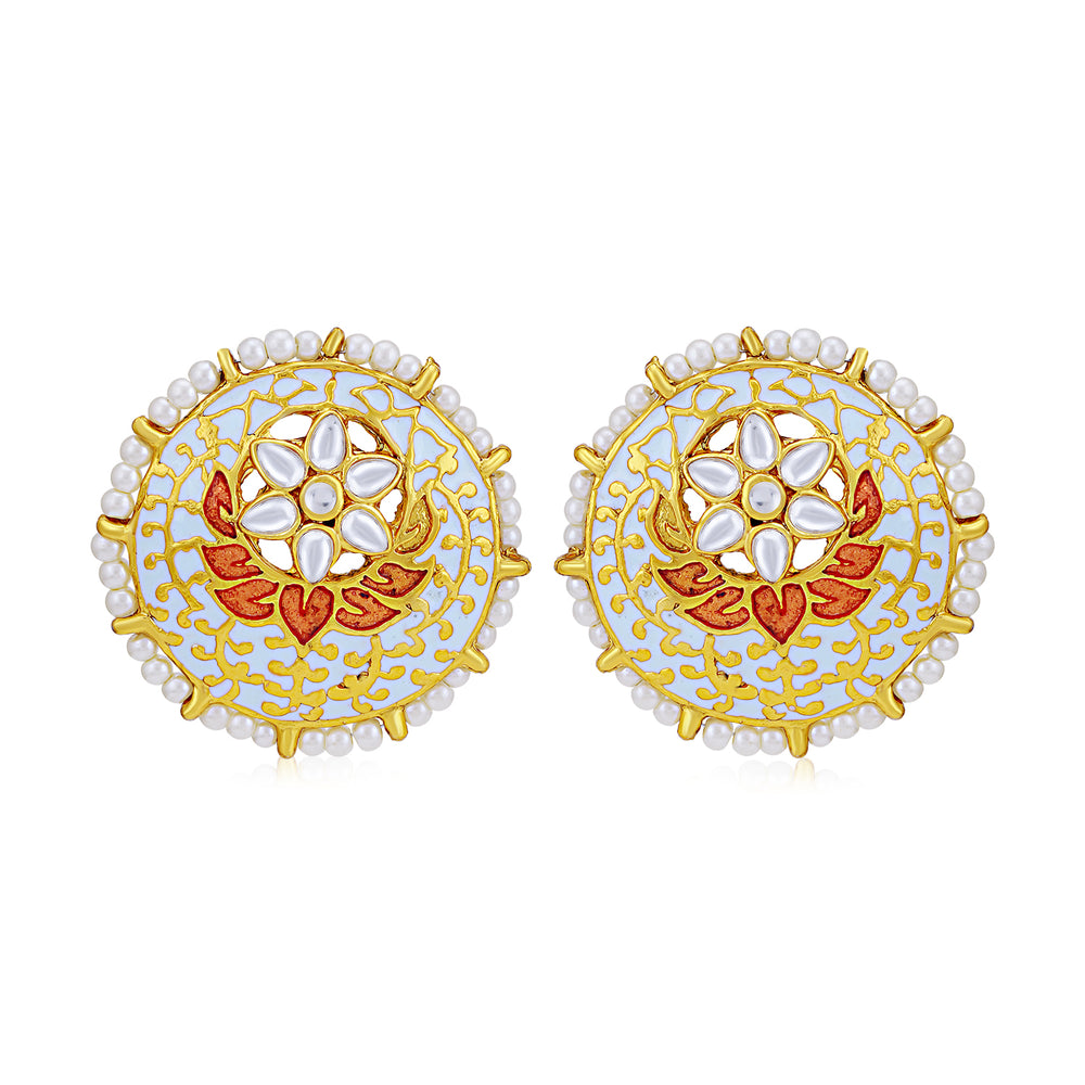 Sukkhi Alluring Pearl Gold Plated Kundan Meenakari Stud Earring for Women