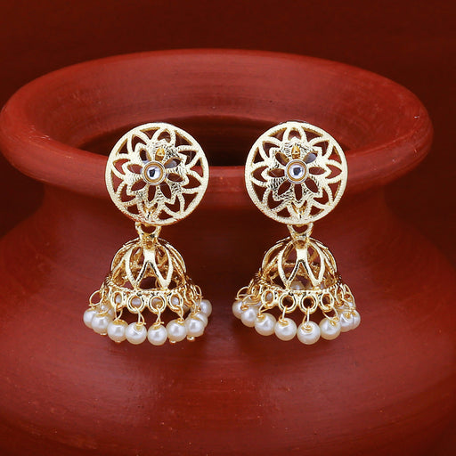 Sukkhi Excellent Kundan Gold Plated Pearl Jhumki Earring for Women