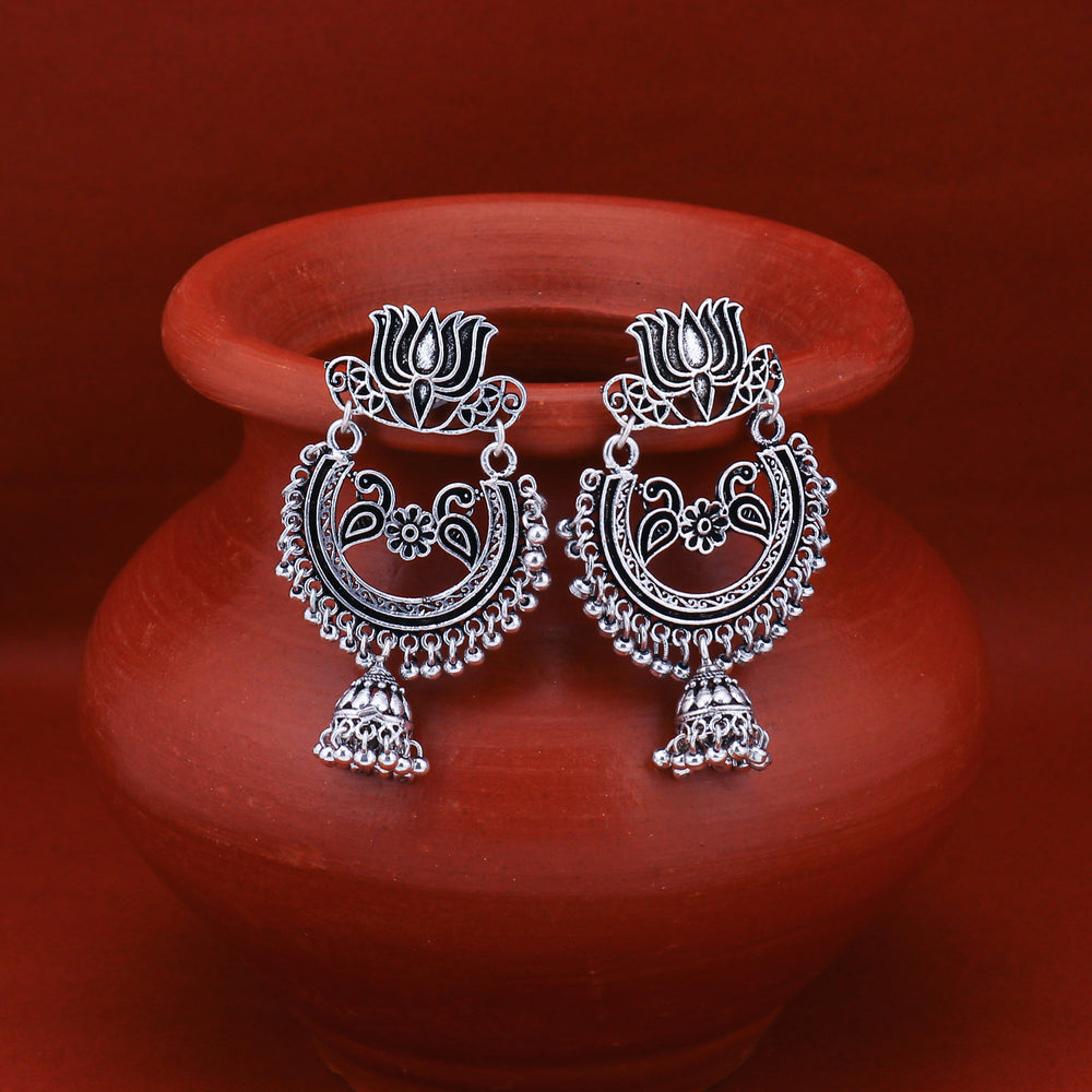 Sukkhi Attractive Oxidised Peacock Chandelier Earring For Women